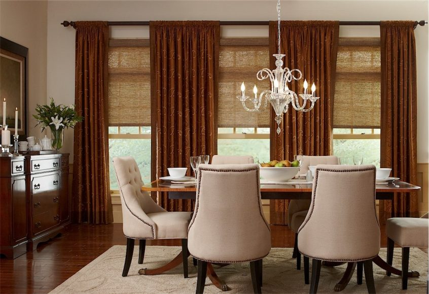 Brown Draperies In Dining Room - Menifee Draperies
