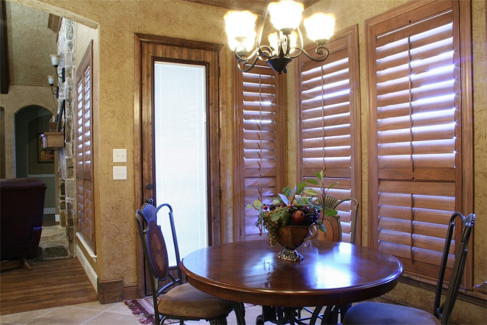 Beautiful Brown Dining Room Shutters   San Diego Shutters
