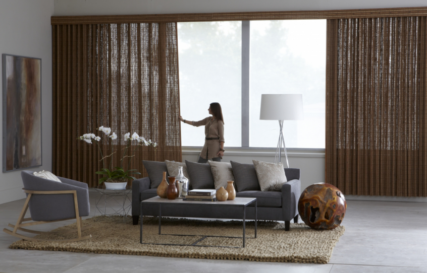 beautiful brown living room draperies - Southern California Window Coverings