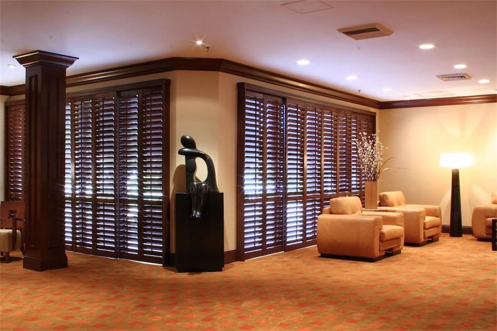 beautiful brown shutters - blinds san diego
