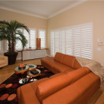 White Living Room Shutters - san diego shutters