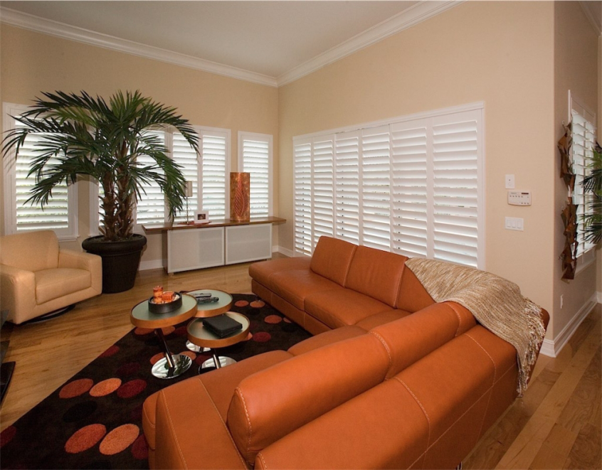 beautiful white living room shutters -Southern California Window Coverings