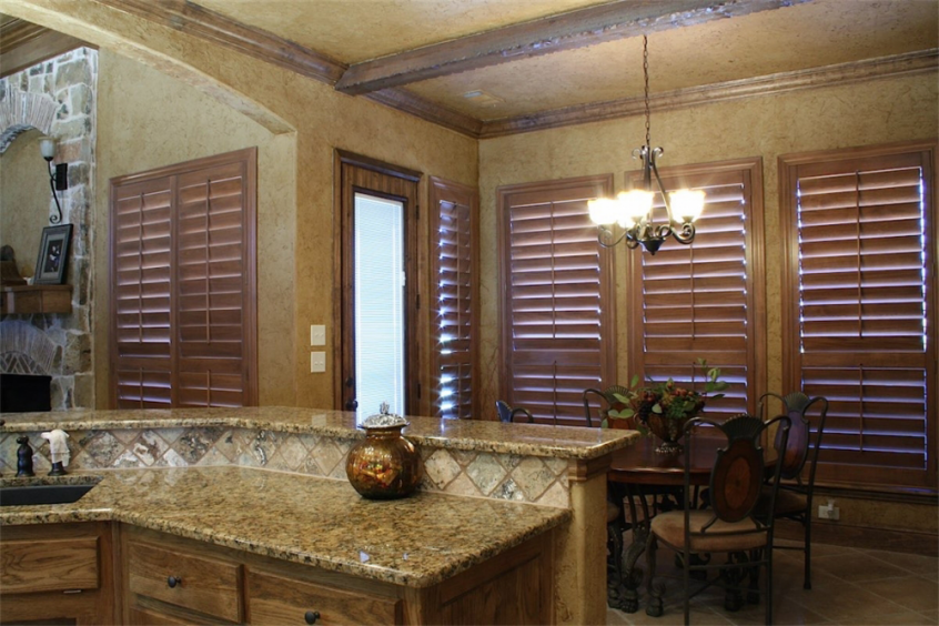 brown wooden kitchen shutters - san diego shutters
