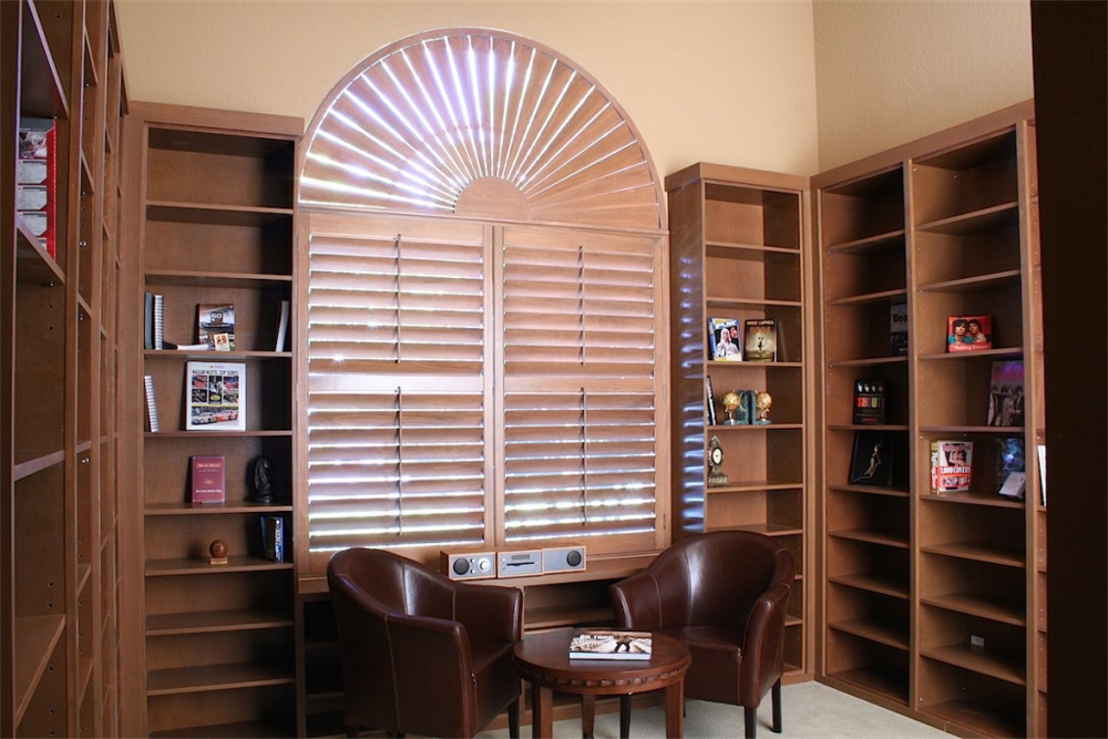 brown wooden shutters - san diego shutters