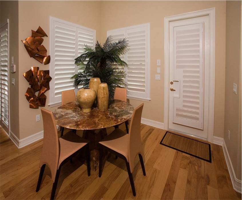 dining room shutters - Southern California Window Coverings