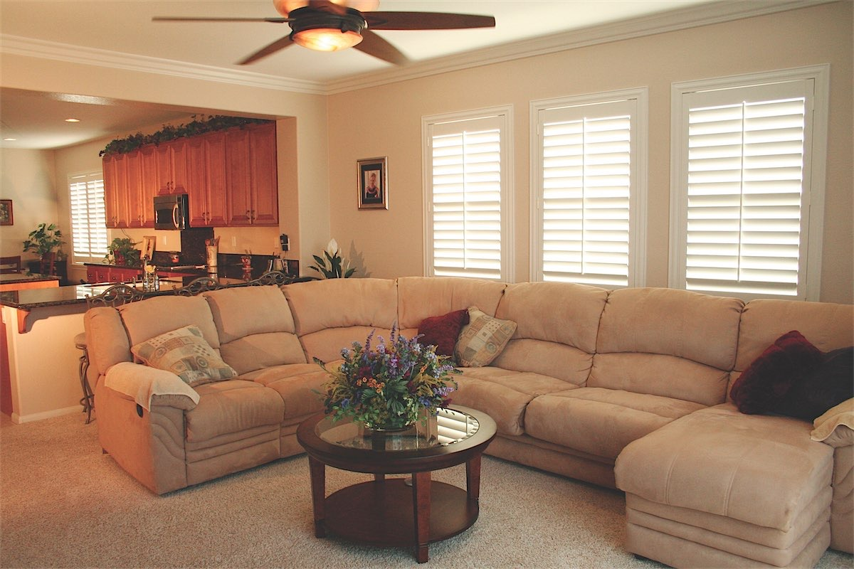 White Shutters In Living Room - San Diego Shutters