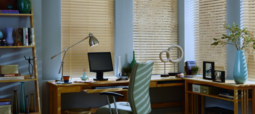 tan blinds & home office desk - Southern California Window Coverings