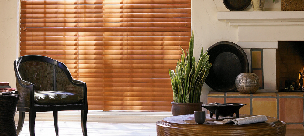 tan blinds in living room - Southern California Window Coverings