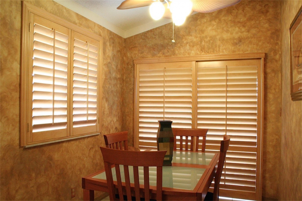 tan dining room shutters - san diego shutters