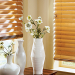 tan wooden blinds - blinds san diego