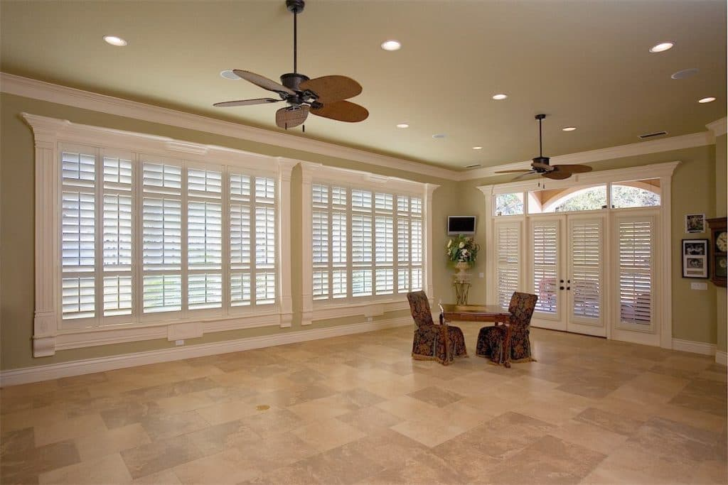 beautiful living room with blinds