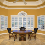 White Shutters in dining room - shutters san diego