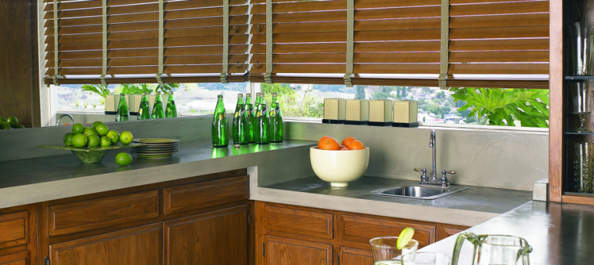 Wooden Kitchen Blinds - Southern California Window Coverings